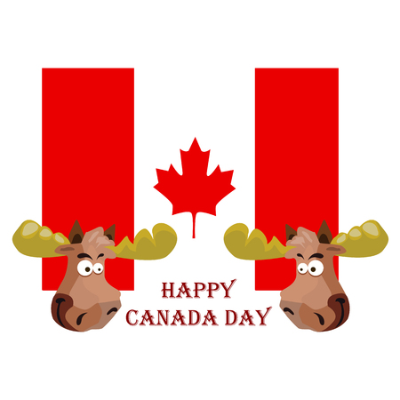 Conception on Canada Day, Festive Elk, against the background of the national flag, vector illustration