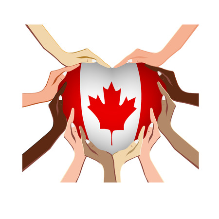 Canada Day, vector illustration with hands in the shape of the heart, inside the national flag isolated on a white background