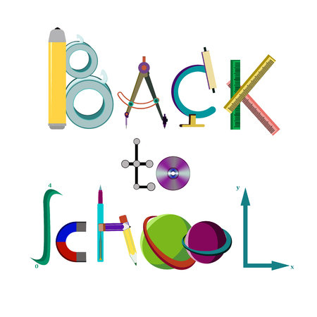 Inscription Back to school of school supplies, vector illustration isolated on a white background 矢量图像