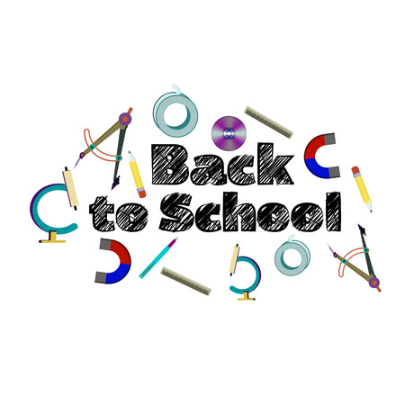 Inscription Back to school with school supplies, vector illustration isolated on a white background