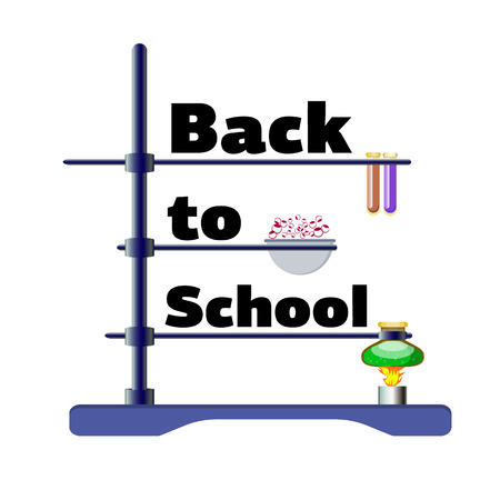 Inscription Back to school with instruments for chemistry lesson, vector illustration isolated on a white background