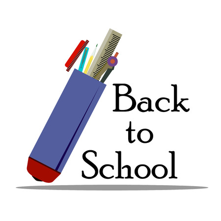 Inscription Back to school whith school supplies, vector illustration isolated on a white background