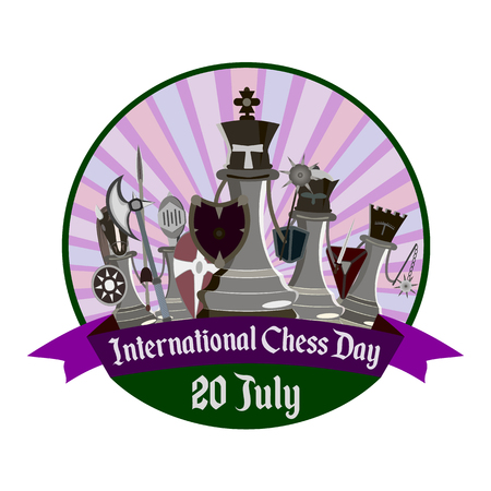 International Chess Day, vector illustration with stylized knight chess