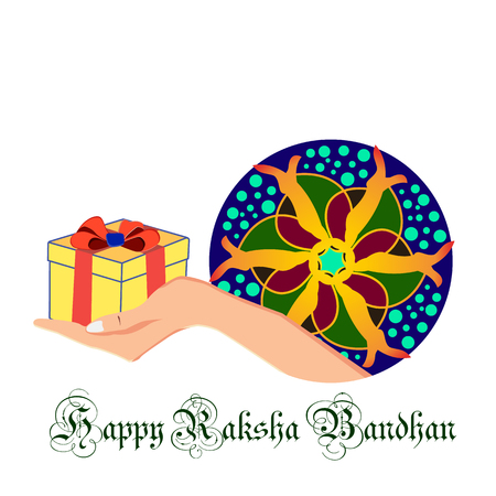 Vector illustration with picture of a gift in hand, on Indian holiday Raksha Bandhan 矢量图像