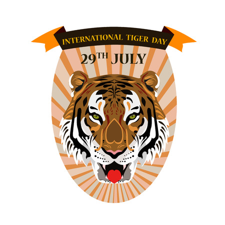 Concept on an international tiger day featuring a tiger's head, vector illustration 矢量图像