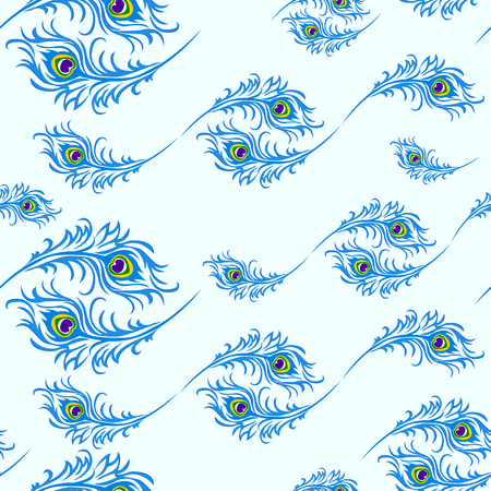 Seamless pattern for the holiday of Janmastami, peacock feathers, vector illustration.
