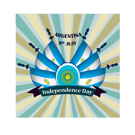 Independence Day of Argentina, vector illustration with national flags 矢量图像