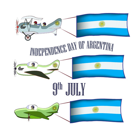 Independence Day of Argentina, set with three planes and national flags on an isolated background, vector illustration