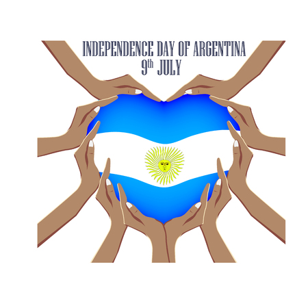 Independence Day of Argentina, vector illustration with hands in the shape of the heart, inside the national flag 免版税图像 - 115098425