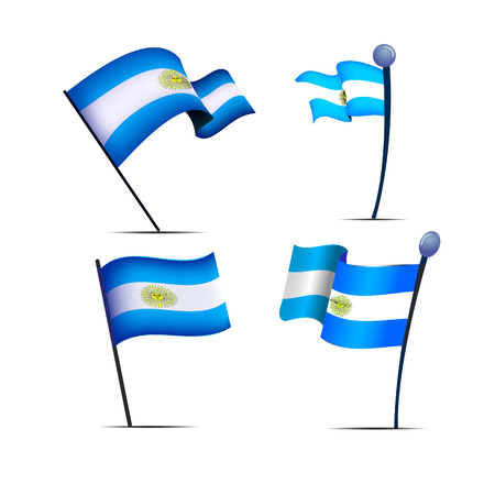 Independence Day of Argentina, a set of flags, vector illustration 免版税图像 - 115098426