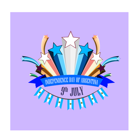 Independence Day of Argentina, vector illustration with stylized festive fireworks 免版税图像 - 115098427