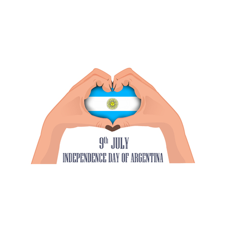 Independence Day of Argentina, illustration with two hands in the shape of the heart, inside the national flag, vector illustration 免版税图像 - 115098428