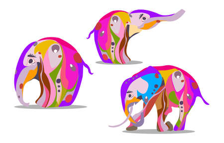 A set of three elephants in an abstract version for Indian holidays. Vector illustrstion 矢量图像