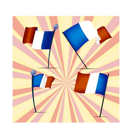 Set of four flags of France, vector illustration