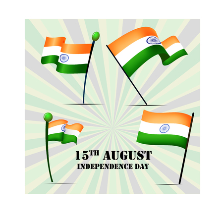 Set of four flags of India on Independence Day 15th august, vector illustration