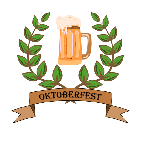 Concept for Oktoberfest with a picture of a beer glass on an isolated background, vector illustration 矢量图像