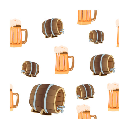 Oktoberfest concept, seamless pattern with beer bakery and beer barrels on an isolated background, vector illustration