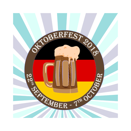 Oktoberfest concept, a banner with a beer bakery image, vector illustration 免版税图像 - 115709898
