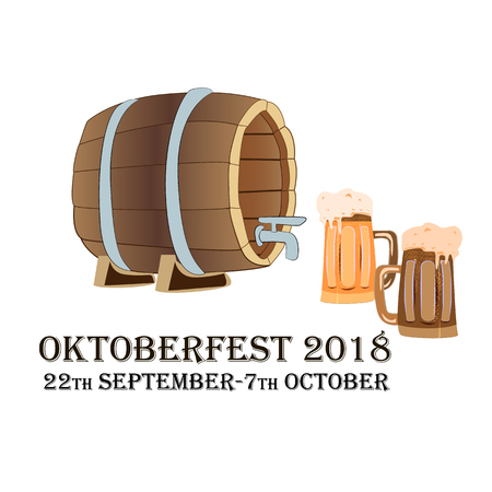 Oktoberfest concept featuring two beer bakery and a beer barrel on an isolated background, vector illustration