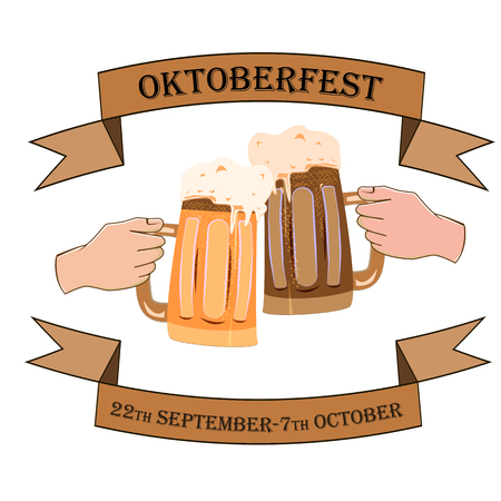 Oktoberfest concept with the image of two hands with beer bakas on an isolated background, vector illustration 矢量图像