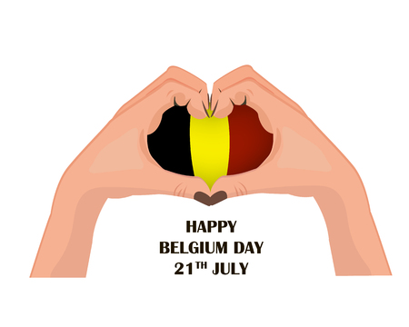 Nayional Day of Belgium, illustration with two hands in the shape of the heart, inside the national flag, vector illustration 矢量图像