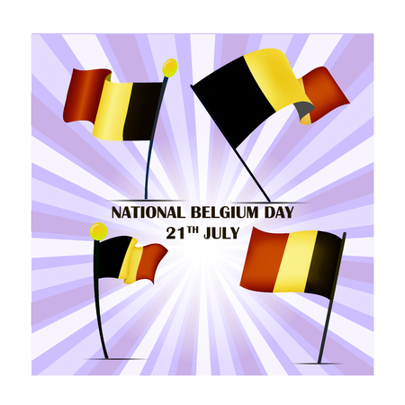 Set of four flags of Belgium on National Day 21th July, vector illustration 矢量图像