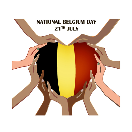 Nayional Day of Belgium, illustration with hands in the shape of the heart, inside the national flag, vector illustration