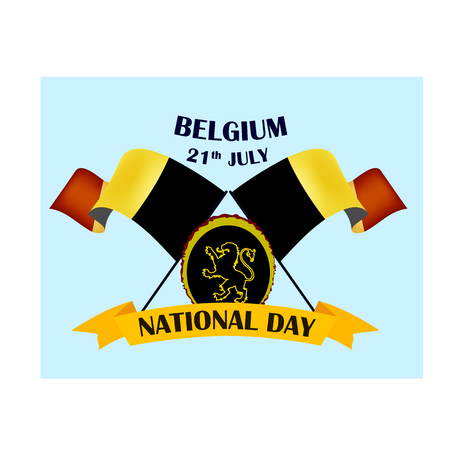 Nayional Day of Belgium, vector illustration with national flags, vector illustration