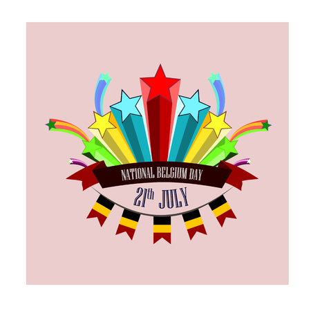 Nayional Day of Belgium, vector illustration with stylized festive fireworks, vector illustration 矢量图像