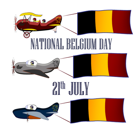 Nayional Day of Belgium, set with three planes and national flags on an isolated background, vector illustration 矢量图像