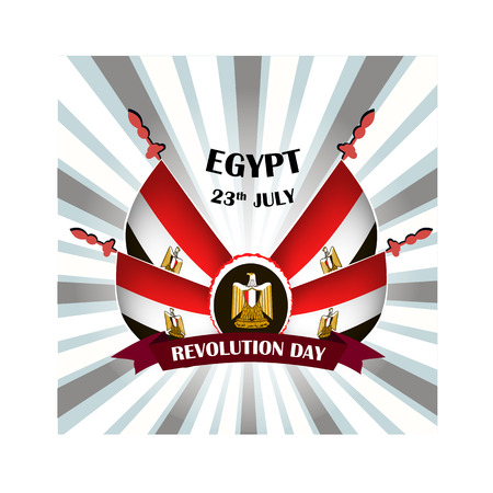 Egypt revolution day, vector illustration with national flags