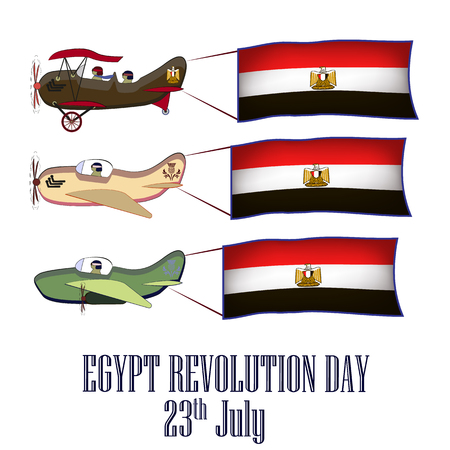 Egypt revolution day, set with three planes and national flags on an isolated background vector illustration
