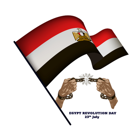 Egypt revolution day, hands with broken chain and national flags, vector illustration 免版税图像 - 114909744
