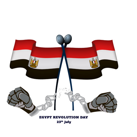 Egypt revolution day, hands with broken chain and national flags, vector illustration