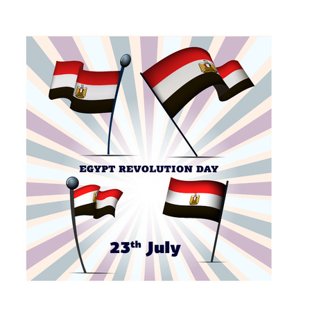Set of four flags of Egypt on Egypt Revolution Day 23th July, vector illustration