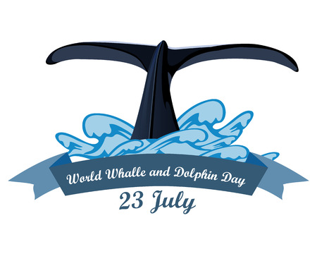 Giornata mondiale delle balene e dei delfini 23 luglio, illustrazione vettoriale