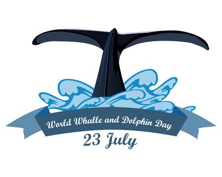 Journée mondiale des baleines et des dauphins le 23 juillet, illustration vectorielle