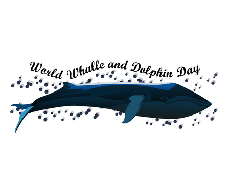 World Whale and Dolphin Day july 23, vector illustration