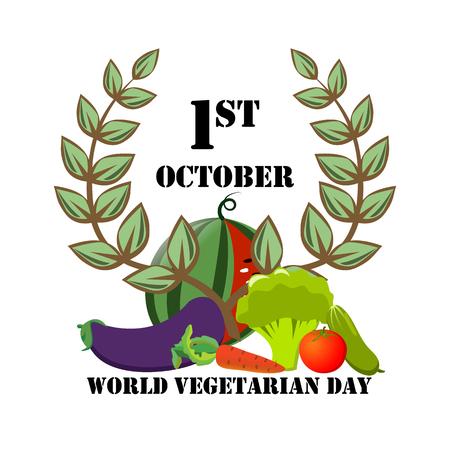 Festive emblem with vegetables on World Vegetarian Day.