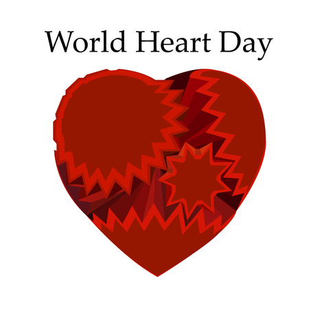 Emblem of World Heart Day with image of red heart on isolated background. Vector illustration. 矢量图像