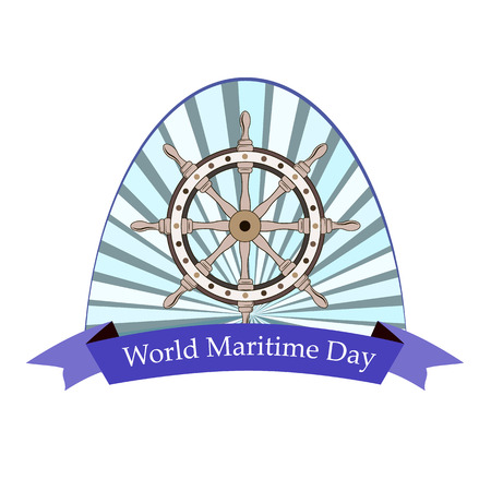 Festive emblem with image of the helm on World Maritime Day.