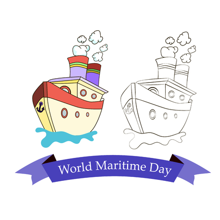 Festive emblem with image of a ship on World Maritime Day. Vector illustration.
