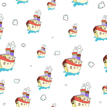 Seamless pattern with image of a ship on World Maritime Day. Vector illustration.