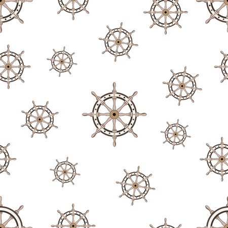 Seamless pattern with image of the helm on World Maritime Day. Vector illustration. 免版税图像 - 114727256
