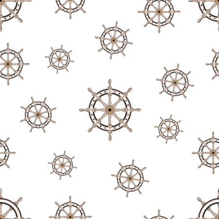Seamless pattern with image of the helm on World Maritime Day. Vector illustration.