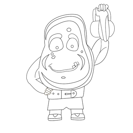 The idea for decorating. The potato is engaged in sports, raises the weight. Vector illustration
