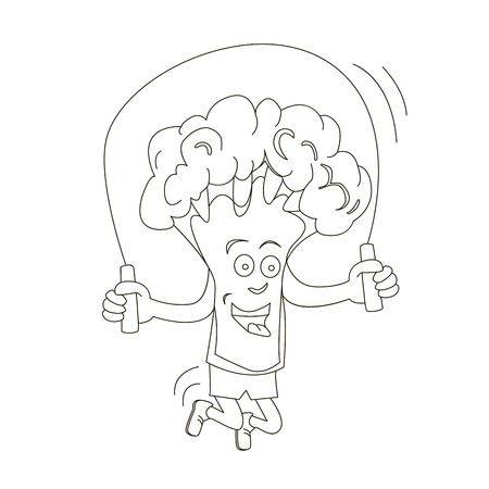 The idea for decorating. Broccoli cabbage is engaged in sports. Broccoli jumping rope. Vector illustration