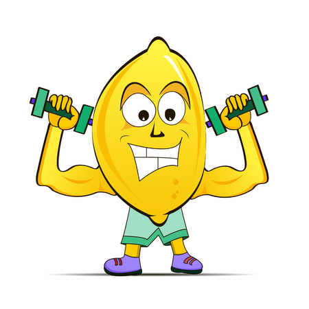 Lemon is engaged in sports, raises dumbbells. Vector illustration 矢量图像