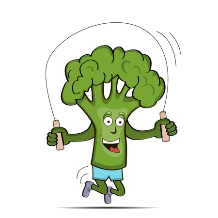 Broccoli cabbage is engaged in sports. Broccoli jumping rope. Vector illustration 矢量图像