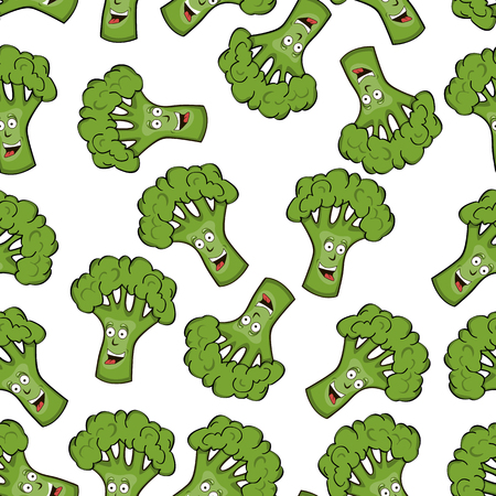 A seamless pattern with the image of smiling faces in the form of broccoli cabbage. Vector illustration